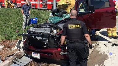 One person was rescued by fire crews and taken to a hospital after becoming trapped in a vehicle after a crash Thursday afternoon on Highway 101 in the area of the Santa Clara River that divides Oxnard and Ventura, officials said.