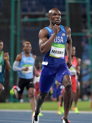 LaShawn Merritt competes in the men's 400 event at Estadio Olimpico Joao Havelange during the Rio 2016 Summer Olympic Games on Aug. 12.