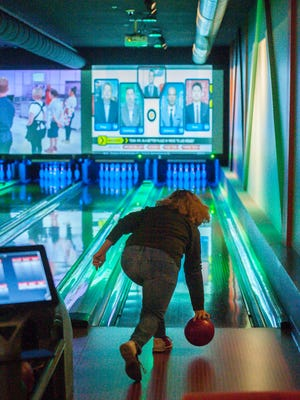 """Lisa """"Bootsie"""" Lumbruno of Mansfield, Connecticut, sends the ball down the lane at Stowe Bowl in Stowe on Monday, March 27, 2017."""