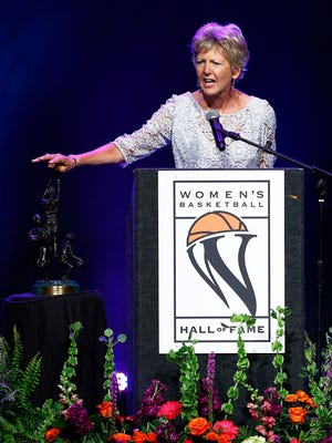 Ceal Barry speaks during induction ceremonies into the Women's Basketball Hall of Fame Saturday, June 9, 2018, in Knoxville, Tenn.