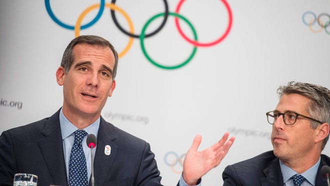 Los Angeles Mayor Eric Garcetti attends a press conference after the Los Angeles 2024 bid presentation before members of the International Olympic Committee.