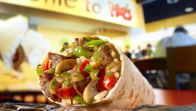 Moe's Southwest Grill's Homewrecker burrito includes seasoned rice, beans, shredded cheese, pico de gallo, lettuce, sour cream and guacamole, with a choice of grass-fed steak, all-natural chicken, grain-fed pulled pork, 100 percent ground beef or organic tofu.