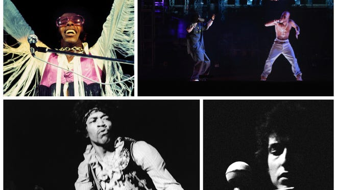 Were these some of the greatest music festival moments? Clockwise from top left: Sly and the Family Stone, Snoop Dogg and a hologram of Tupac Shakur, Bob Dylan and Jimi Hendrix.