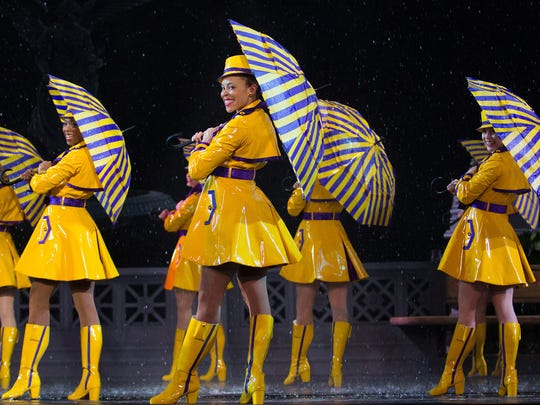 Frolicking in a spring downpour is just another day at the office for the Rockettes.