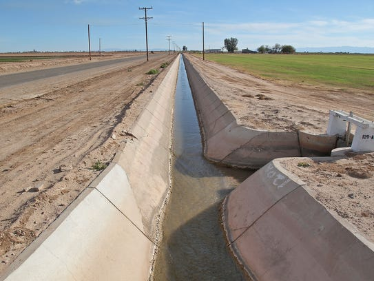Water from the Colorado River flows to a farm near