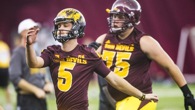 Arizona State University players Zane Gonzalez, left, and William McGehee run drills at practice at the Dickey Dome on campus, Wednesday, August 5, 2015.