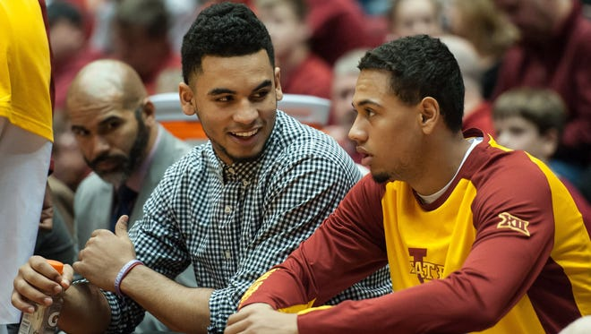 Iowa State guard Nazareth Mitrou-Long (not playing) shares a laugh on the bench during the second half against the Arkansas-Pine Bluff Golden Lions.