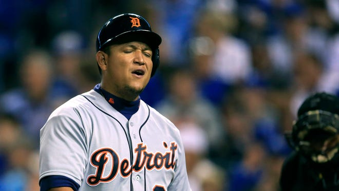 Detroit Tigers' Miguel Cabrera reacts to striking out during the seventh inning of a baseball game against the Kansas City Royals at Kauffman Stadium in Kansas City, Mo., Tuesday, April 19, 2016.