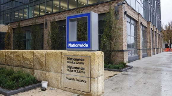 Nationwide Mutual Insurance Co.'s logo outside of its downtown Des Moines campus, 1200 Locust St. on Friday, Oct. 24, 2008.
