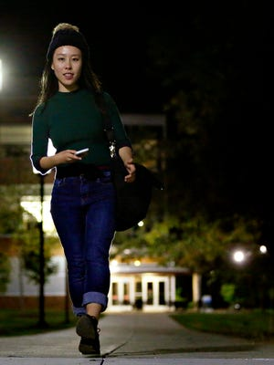 Penn State York student Michelle Lin on campus following her night class, Tuesday, Oct. 4, 2016. Dawn J. Sagert photo