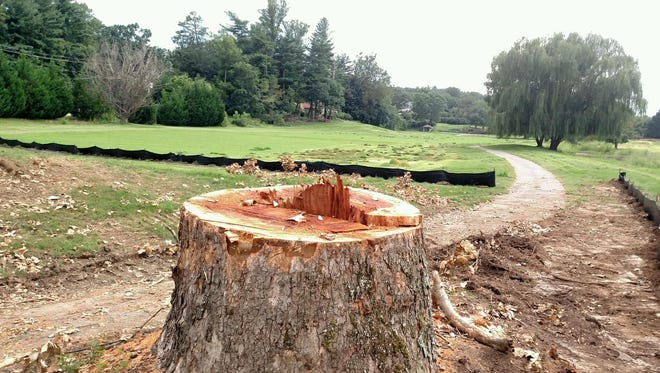 Neighbors are upset that Asheville Country Club has cut down several large trees this week.
