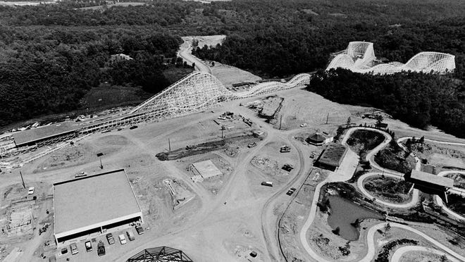 Aerial view of construction of Kings Island in early 1972.