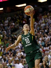 Seattle Storm's Sue Bird drives the lane to score late in overtime in a WNBA basketball playoff semifinal against the Phoenix Mercury, Tuesday, Aug. 28, 2018, in Seattle. The Storm won 91-87 in overtime.