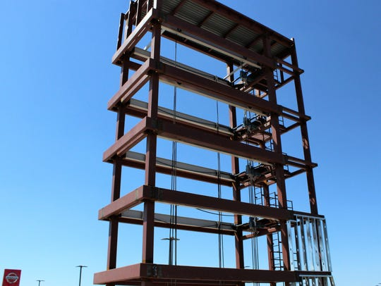 A steel tower at the south end of the new McGavock
