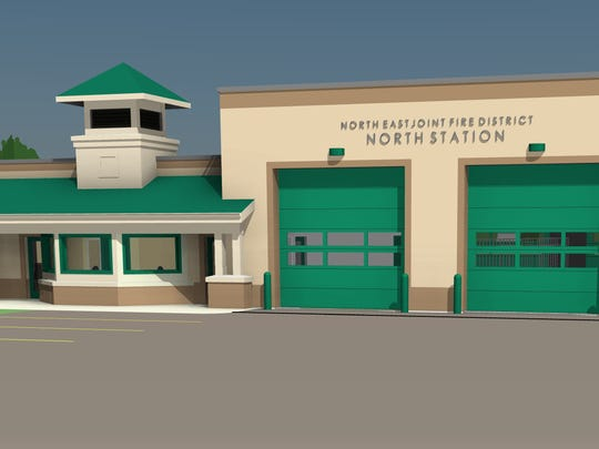A rendering of the proposed North East Joint Fire District station in north Webster.