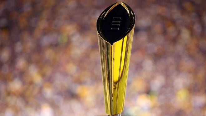 The College Football Playoff National Championship Trophy.