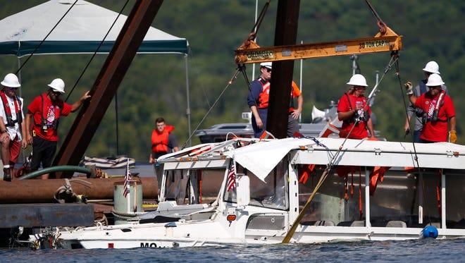 The duck boat that sank in Branson, Missouri, is raised on July 23, 2018.