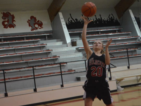 Glenmora junior guard Amy Ashworth (20) attempts a layup during practice Tuesday.