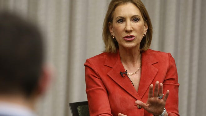 Republican Carly Fiorina talks with the Des Moines Register editorial board Thursday, May 7, 2015 in downtown Des Moines.