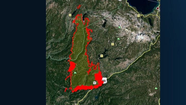 Infrared map of King Fire, burning in El Dorado and Placer counties, shows the wildfire has burned 87,592 acres.