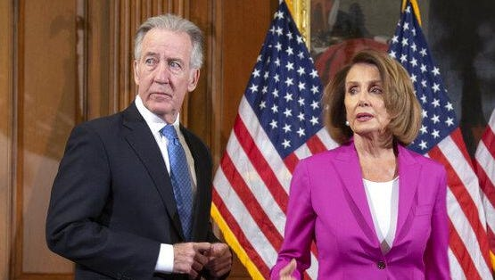 Ways and Means Committee Chair Richard Neal, D-Mass., left, waits with Speaker of the House Nancy Pelosi, D-Calif., for a formal photo session with new committee chairs at the Capitol in Washington, Friday, Jan. 11, 2019. Neal is moving forward with plans to subpoena President Donald Trump's tax returns.