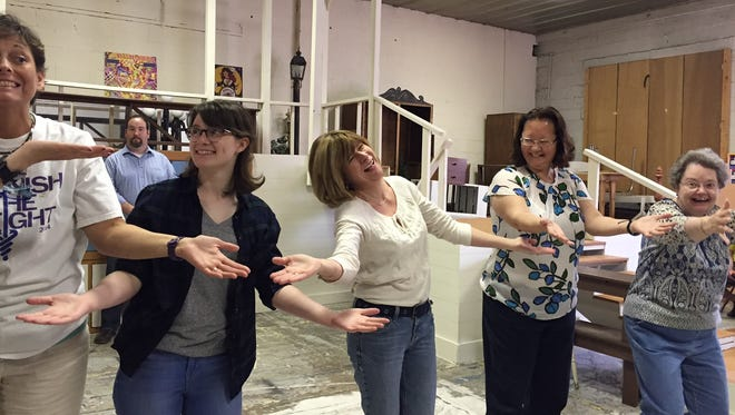 "Karen Romig (center) plays Eulalie McKecknie Shinn, surrounded by the Pick-a-Little Ladies Cindy Cavanaugh, Margot Flanders, Diane Woodson and Joanne Snodgrass during rehearsals for ""The Music Man"" on Sunday, April 24, 2016 at the Waynesboro Players Warehouse."