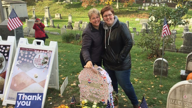 Diana Batchelor, 22, of Fairport visited Susan B. Anthony's gravesite on Tuesday with her mother, Katherine, 53.