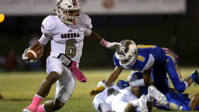 Sonora's Jarrett Jackson nearly eclipsed 1,000 yards rushing and receiving last year. The versatile running back finished with 1,248 rushing yards and 981 receiving yards.