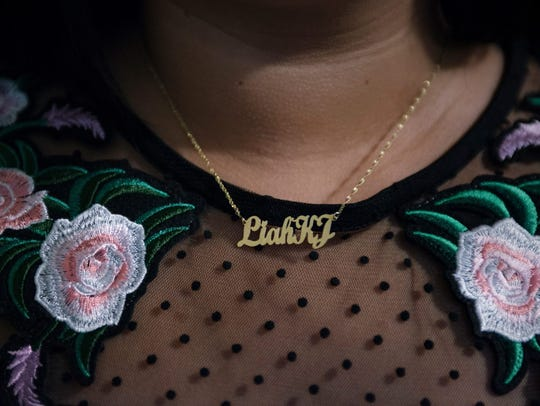 Ferrera wears a necklace of her daughter Liah's name.