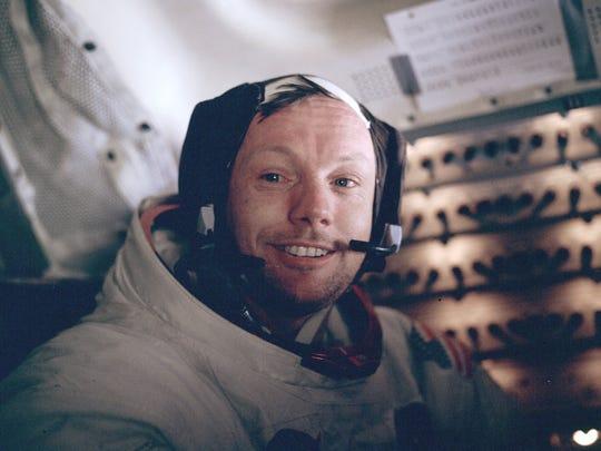 Neil Armstrong inside the lunar lander after his historic