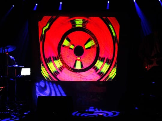 Electronic rock duo King Complex incorporated a visualizer into their set.