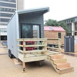 One of the tiny homes built by Texas A&M University architecture and construction science students to house the homeless in Austin.