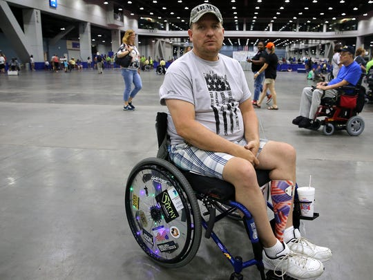 Army veteran Ervin Mulkey, 47, of Union Center, Wisconsin, is pictured during the 37th National Veterans Wheelchair Games, Wednesday, July 19, 2017, at the Duke Energy Convention Center in Cincinnati.