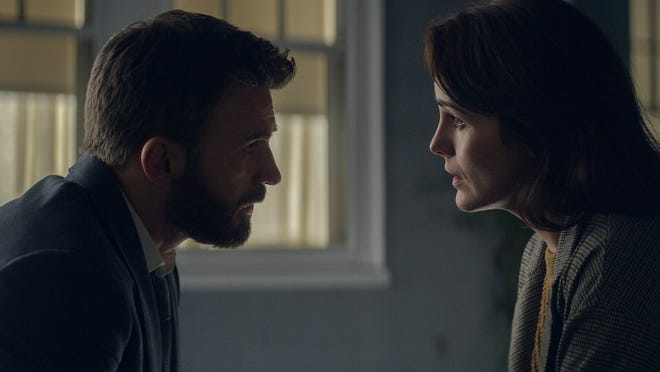 Michelle Dockery and Chris Evans have an intense discussion about their son's guilt or innocence.
