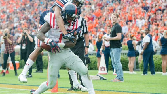 Ole Miss wide receiver Laquon Treadwell  scores a touchdown