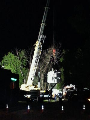 Alliant Energy crews worked through the night in North Liberty last week, eventually using this crane to replace a 45-ton transformer.