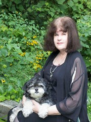 Sharyn McCrumb and her dog, Arthur