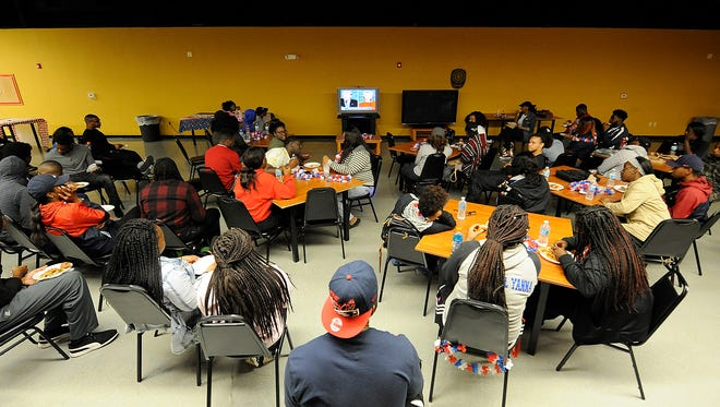 Students pack into Stone Hall for a presidential debate viewing party at Lane College in Jackson, Tenn., on Monday, Sept. 26, 2016.