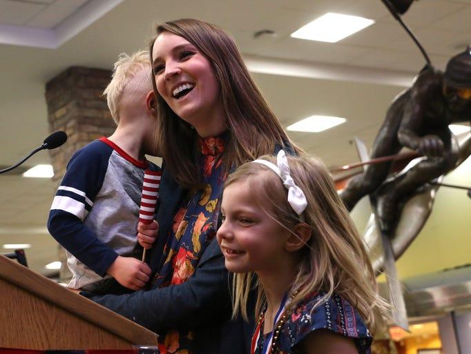Olympic champion David Wise's wife Alexandra greets