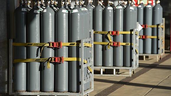 Nitrogen gas bottles