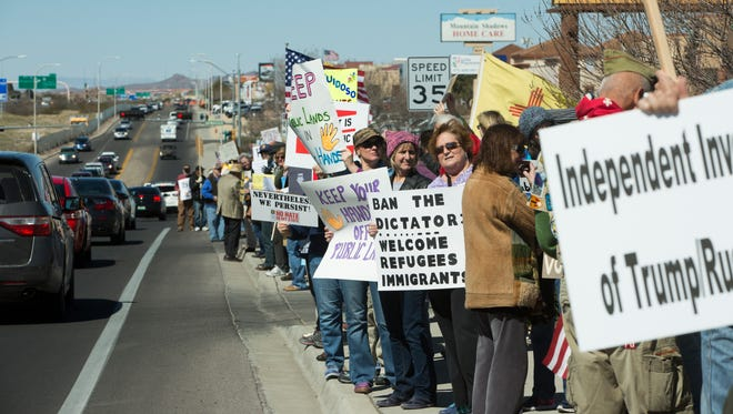 Over 200 protesters gathered in front of Rep. Steve Pearce's Las Cruces office to protest the lack of an in person town hall meeting with the Congressman. Along with the protest they held a mock town hall meeting where a stand in took the place of Pearce and was asked questions by the group of protesters, Friday February 24, 2017. The progressive group, Indivisible, and WE'RE IN: Southern New Mexico organized this protest and mock town hall, with many of the people gathered expressing frustration with the congressman for not having any in  person town halls with his constituents.
