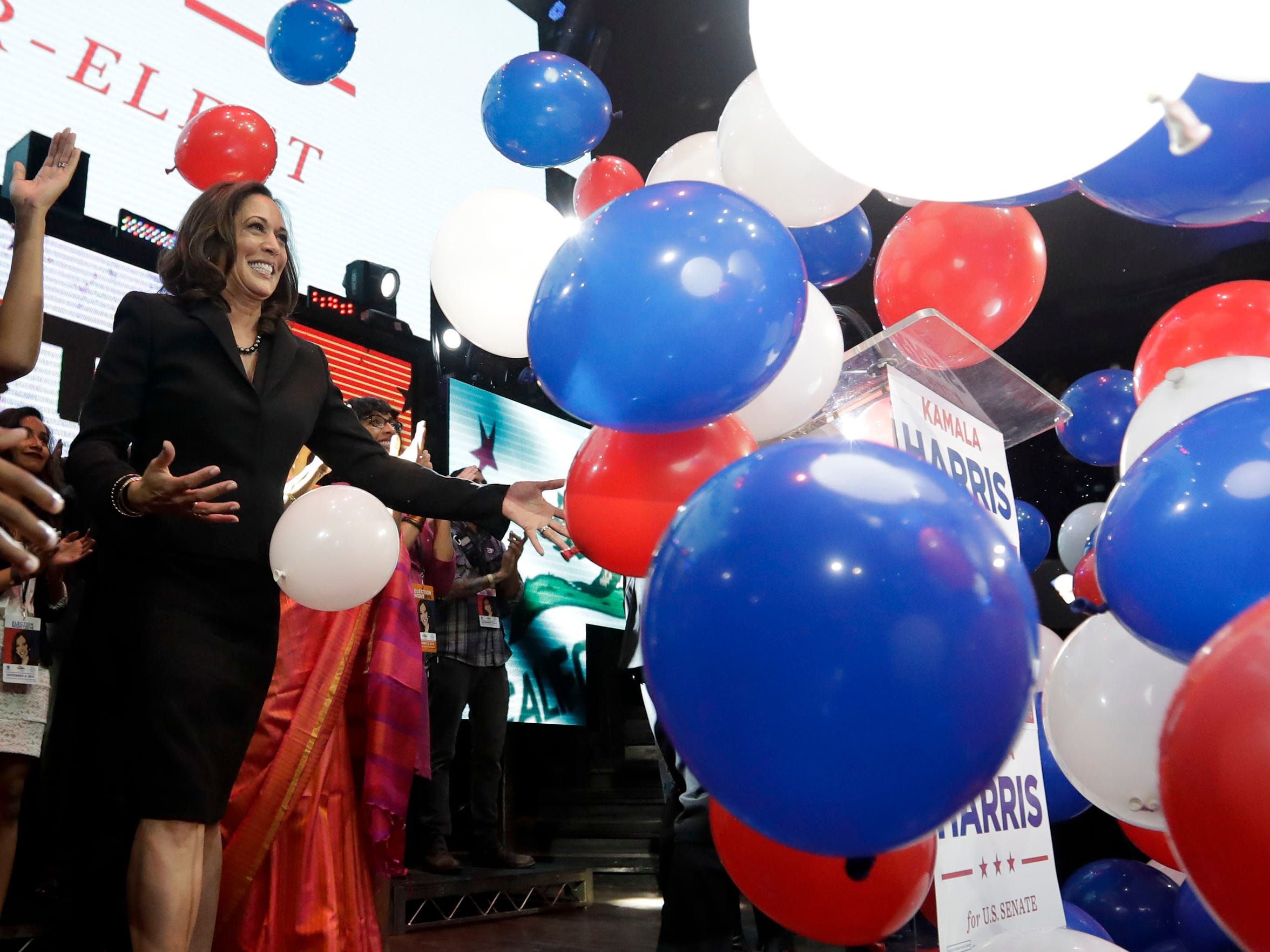 Kamala Harris greets supporters at a election night rally on Nov. 8, 2016 in Los Angeles.