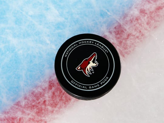 Arizona puck during Coyotes media day on Thursday,