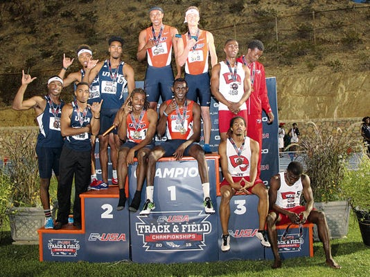The UTEP men's relay team entered the Conference USA Track and Field Championships as underdogs and came aways at champions, seen here showing off their first-place medals atop the medal stand.