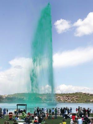 Fountain Hills' namesake fountain goes emerald in honor of Ireland's patron saint.