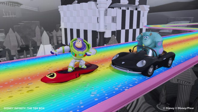 Buzz Lightyear of 'Toy Story' and Sulley from Monsters U appear in 'Disney Infinity.'