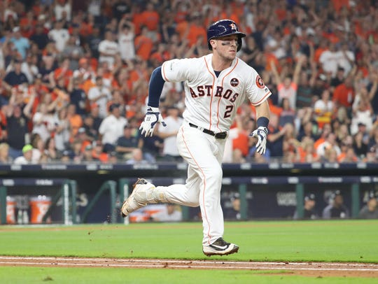 Houston Astros third baseman Alex Bregman (2) will