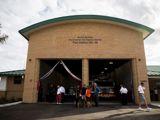 People explore the new fire station at the Bonita Springs