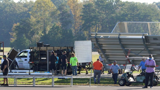 Work continued Tuesday morning in preparations of President Donald Trump's Wednesday visit to the Gastonia Municipal Airport on Gaston Day School Road.