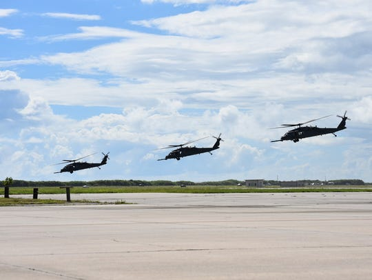 Several HH-60G Pave Hawk helicopters were deployed